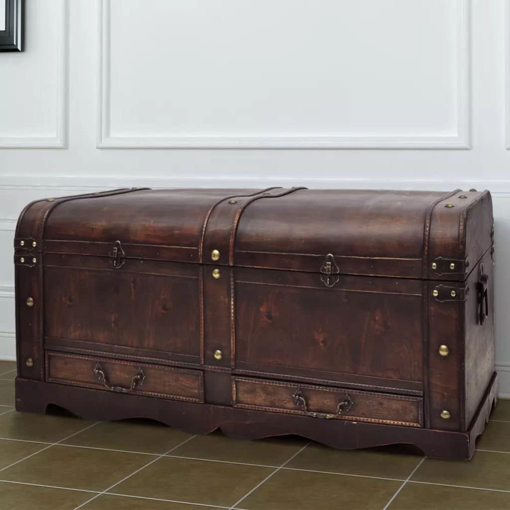 Brown Vintage Wood Storage Trunk Wooden 超激安 Treasure Dra デポー Chest with