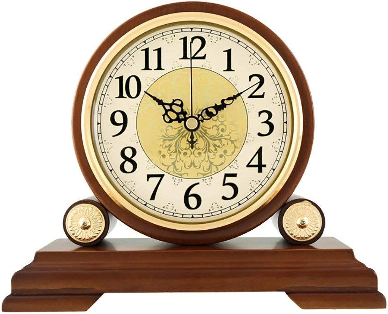デスククロックファミリークロック純木製卓上時計、モダンなサイレント装飾的な寝室のベッドサイドリビングルームの寝室に適していますオフィス(サイズ:S)