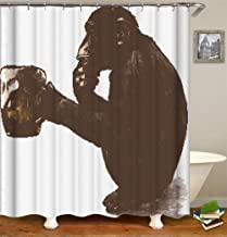 ZYJ A Gorilla Drinking Beer. Shower Curtain. 70.86 Inches X 70.86 Inches. Waterproof. Easy to Clean. Includes 12 Free Hooks. Home Decoration.