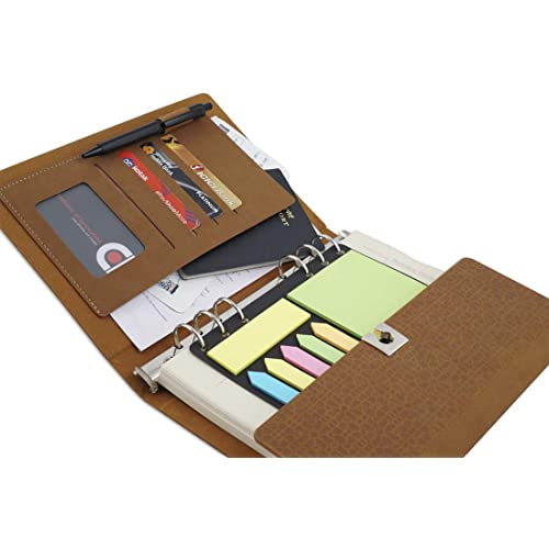 COI Textured Brown Foldable Planner/Designer Faux Leather to Do List Notepad with Sticky Notes, Daily Lock Undated Diary, Appointment Organizer Gift for Mom and Dad with Pen