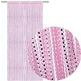AIZESI Fadenvorhang Insektenschutz 90x200 Gardinen Deko Vorhänge Wohnzimmer Tür Vorhang Fly Insect Bug Screen String für Türöffnungen Teiler oder Fenster Vorhang(Pink)