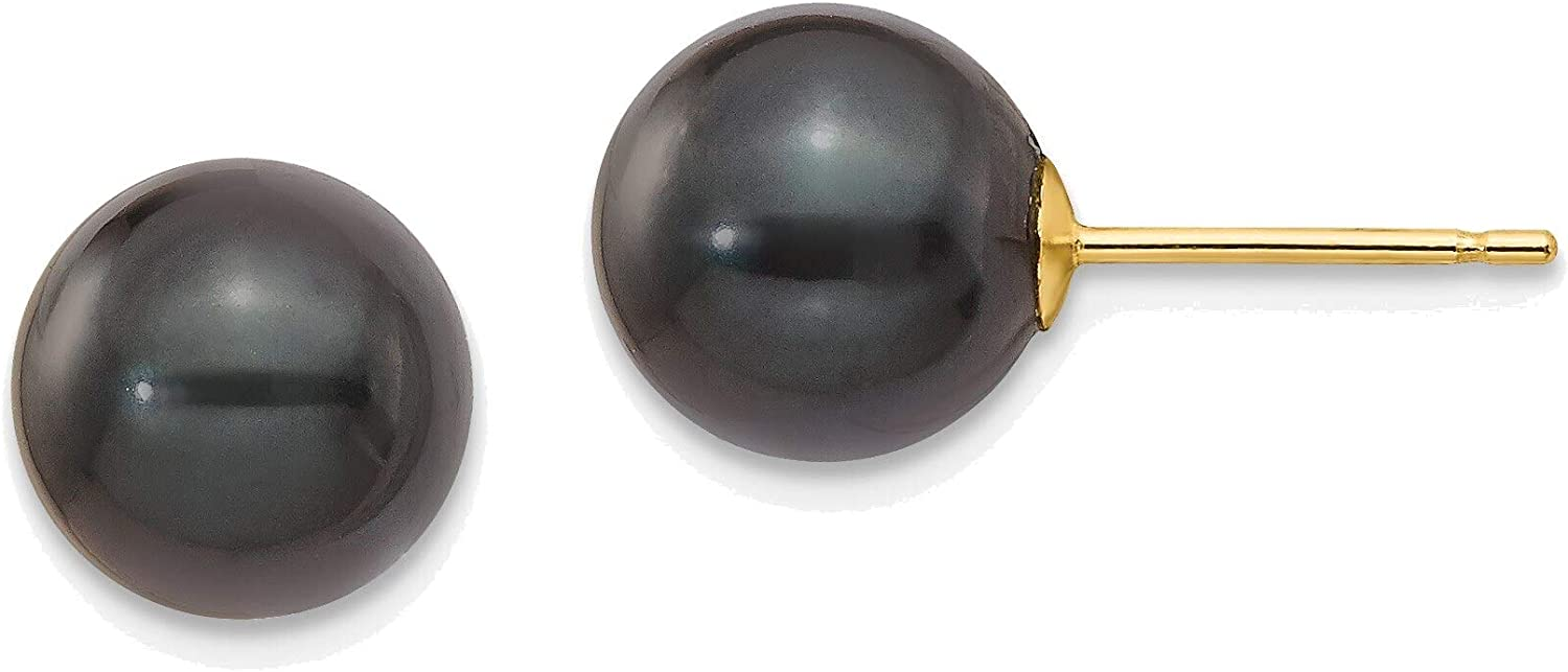 8-9mm Round Black Saltwater Akoya Cultured Pearl Stud Post Earrings in 14K Yellow Gold