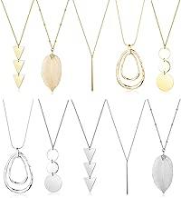 FUTTMI 10 Pieces Women Y Layer Long Pendant Necklace Set Simple Bar Tassel Necklace Chain