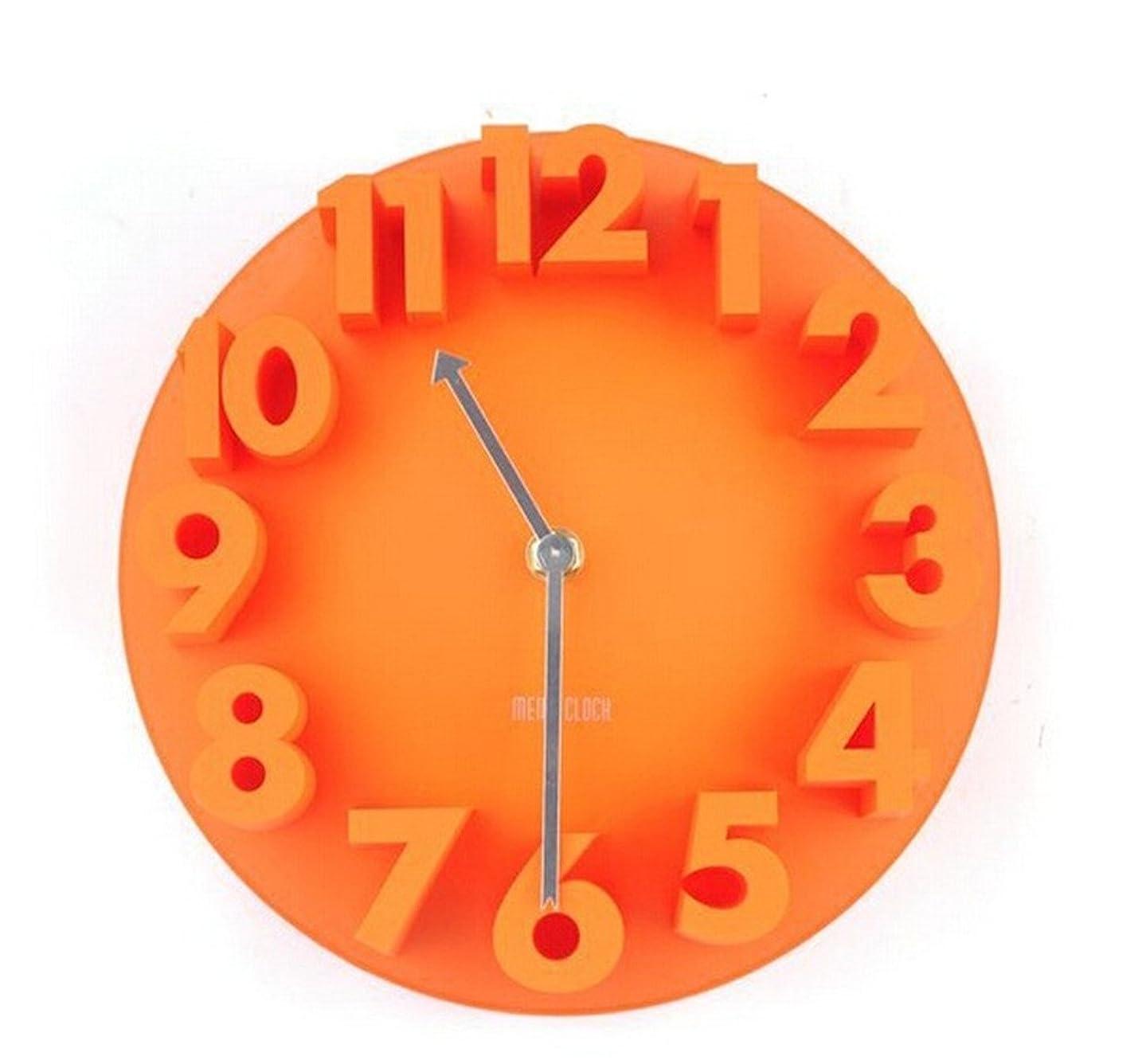 liveleafa 4 Colors Excellent 3D Home Decor Fashion Modern Art Decorative Dome Round Wall Clock Watch Bell Orange
