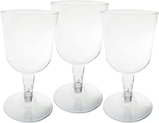 Party Essentials Hard Plastic Two Piece 5.5-Ounce Wine Glasses, Clear, Pack of 50