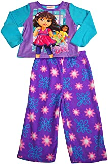 Dora the Explorer - Littlle Girls Long Sleeve Fleece Dora Pajamas