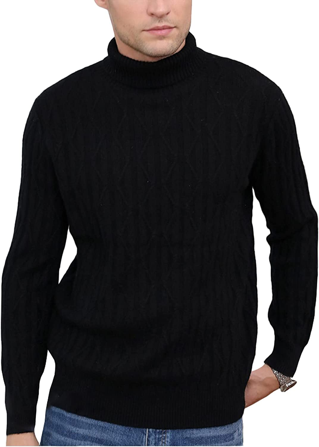Men's Turtleneck Cashmere Sweater Thicken Mid-Length Casual Pullover Plus Size Outwear Keep Warm Tops Daily