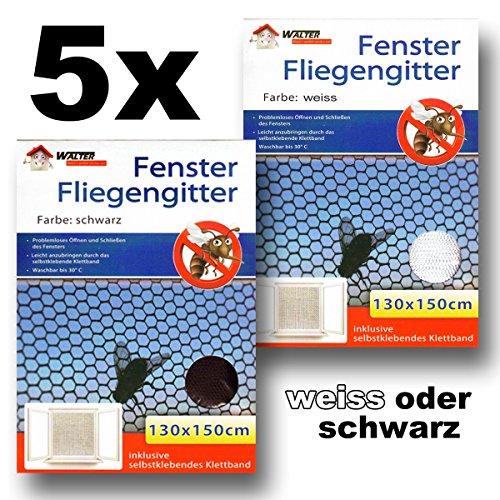5x WALTER Fliegengitter Fenster 130x150 cm weiss oder schwarz Moskitonetz Mückenschutz Insektenschutz