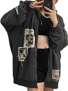 Sudadera con capucha Y2k para mujer, de manga larga, con cremallera, estilo vintage, con bolsillo, estilo urbano, talla gr...
