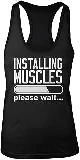 LOGOPOP Women's Installing Muscles Please Wait Racerback Tank Top