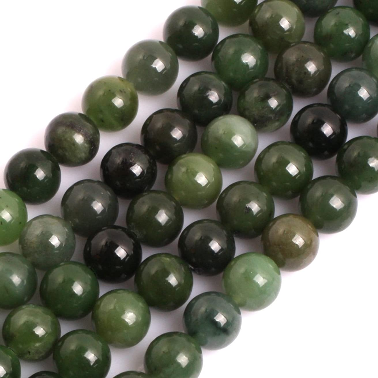 GEM-inside Natural 10mm Green Canadian Jadeite Jade Gemstone Loose Beads Energy Stone Beads for Jewelry Making Jewelry Beading Supplies for Women