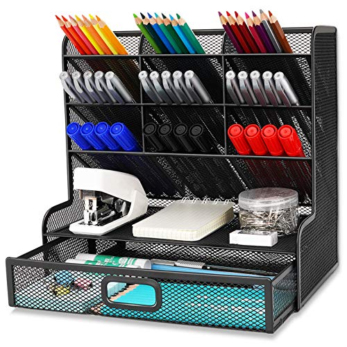 Wellerly Mesh Desk Organizer Pencil Holder Multi-Functional Desktop Organizer Collection - 9 Compartments with A Storage Rack Drawer - Markers Pen Holder for Office School Home Supply - Black