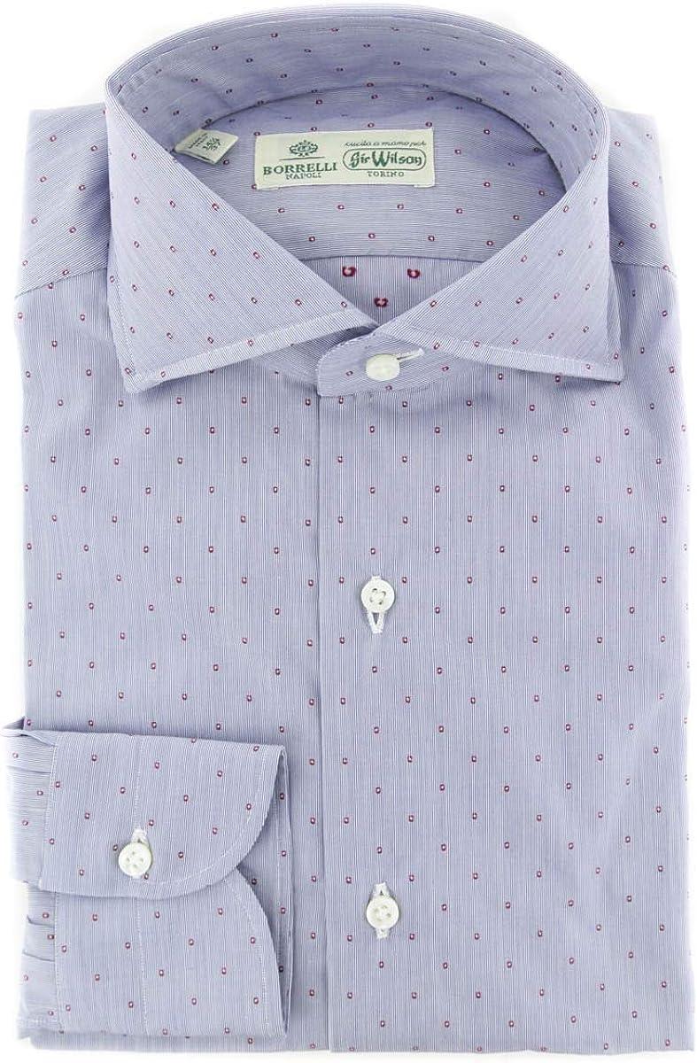 Luigi Borrelli store Stripes Button Down Collar Fit Cotton Slim Spread Tulsa Mall