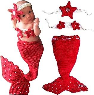 Babymoon (Set of 2) Crochet Mremaid New Born Baby Photography Shoot Props Costume (Cherry Red)
