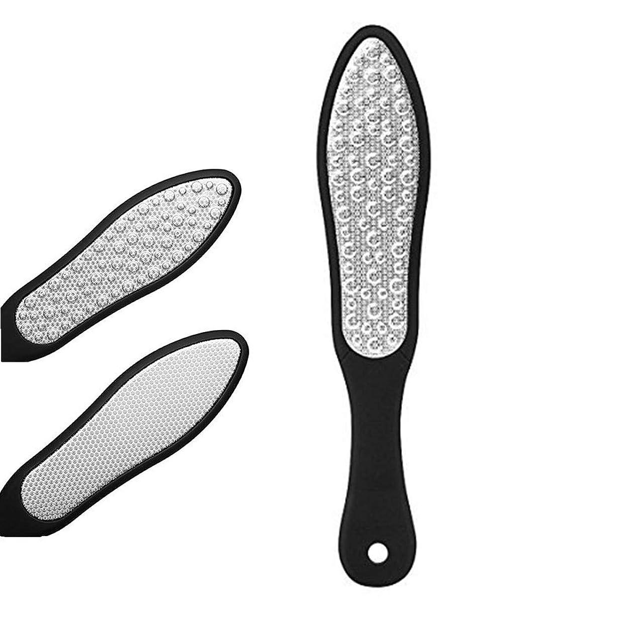 逃げる進行中違法フットファイル 角質リムーバー 角質やすり 魚の目削り 足 かかと削り ペディキュア用両面ヤスリ フットケア プロ用ステンレススチール