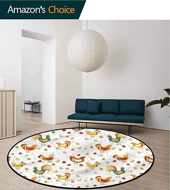 RUGSMAT Gallus Round Area Rug Ultra Comfy Thick Rooster Hen Chicks Spring Non Skid Bath Mat Living Room Bedroom Carpet Diameter 24