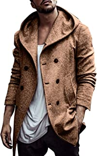 Men's Wool Blend Hooded Coats Winter Slim Fit Trench Double Breasted Long Peacoat Overcoat Outwear
