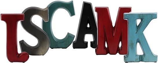 Urban Trends Ceramic Alphabet Decor Letters SMACKJ with Coated Finish (Assortment of 6), Red/Black/Blue/Green/Gunmetal
