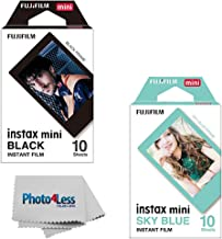 Fujifilm Instax Mini Instant Film Black (10 Sheets) + Fujifilm Mini Instant Film Sky Blue (10 Sheets)