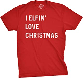 Mens I Elfin Love Christmas Tshirt Funny Holiday Tee for Guys