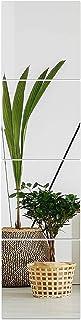 Muzilife Lot de 4 carreaux de verre 30 x 30 cm avec 4 miroirs muraux adhésifs Mat HD pour cuisine, salon et salle de bain