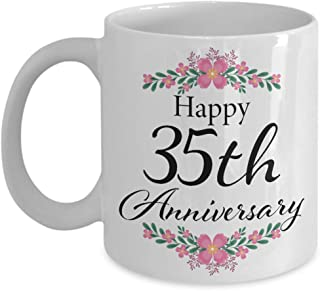Happy 35th Anniversary Coffee Mug - Wedding Gifts for Her 35 Year - Unique Romantic Present Ideas for Wife, Aunt, Grandma, Mother in Law from Husband, Son, Daughter, Kids - 1984 Marriage - 11oz