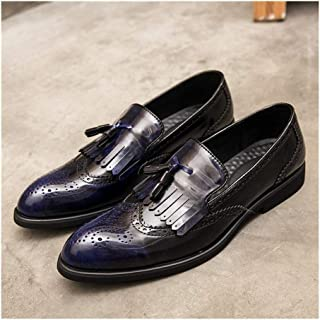 PengCheng Pang Brogue Carving Shoes for Men Business Oxford Pointed Toe Microfiber Leather Tassels Slip on Solid Color Rubber Sole Burnished Style (Color : Blue, Size : 5.5 UK)