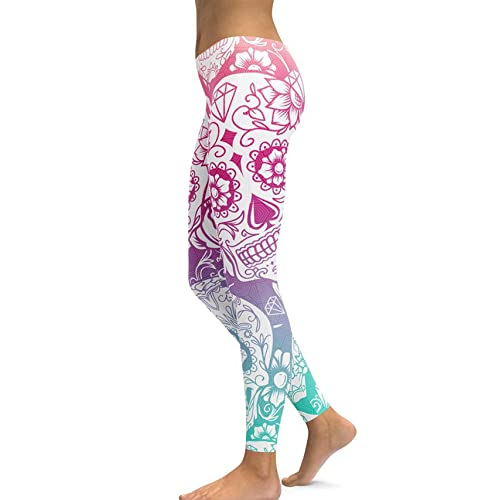 fc328291fd2018 Women's Sugar Skull Printed Leggings Brushed Buttery Soft Ankle Length  Tights