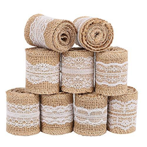 Rollo de cinta de arpillera de yute de lino y arpillera de color blanco de 5 x 100 cm para decoración vintage de bodas, eventos, fiestas, hogar, manualidades 9pack