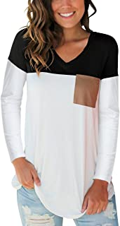 Womens Tops V Neck Long Sleeve and Long Sleeve Color Block Casual Tee Shirts
