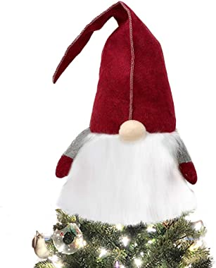 Celebrate A Holiday Gnome Christmas Tree Topper Decoration - 25 Inch Adorable Swedish Tomte Large Xmas Tree Topper Christmas