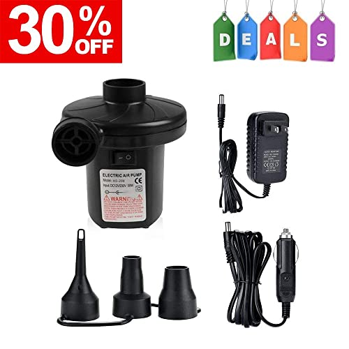 CISNO Electric Air Pump for Inflatables Air Mattress Toys Bed Lake Floats Rafts Pool Quick-Fill Portable Inflator//Deflator with 3 Nozzles 110V//150W