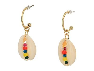 Steve Madden Seashell and Rhinestone Drop Post Earrings (Yellow Gold-Tone/White) Earring