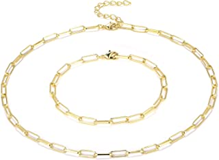 14K Gold Plated Paperclip Link Chain Necklace Bracelet...