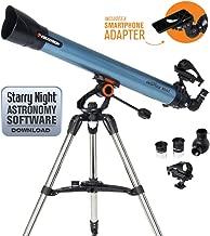 Celestron Inspire 80AZ Refractor Smartphone Adapter Built-in Refracting Telescope, Blue (22402)
