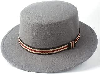 Pork Pie Hat Fedora Trilby Winter Flat Top Hat Wide Brim Hat Men Women Friend Party Hat Wool Trilby Hat Size 56-58CM (Color : Gray, Size : 56-58)
