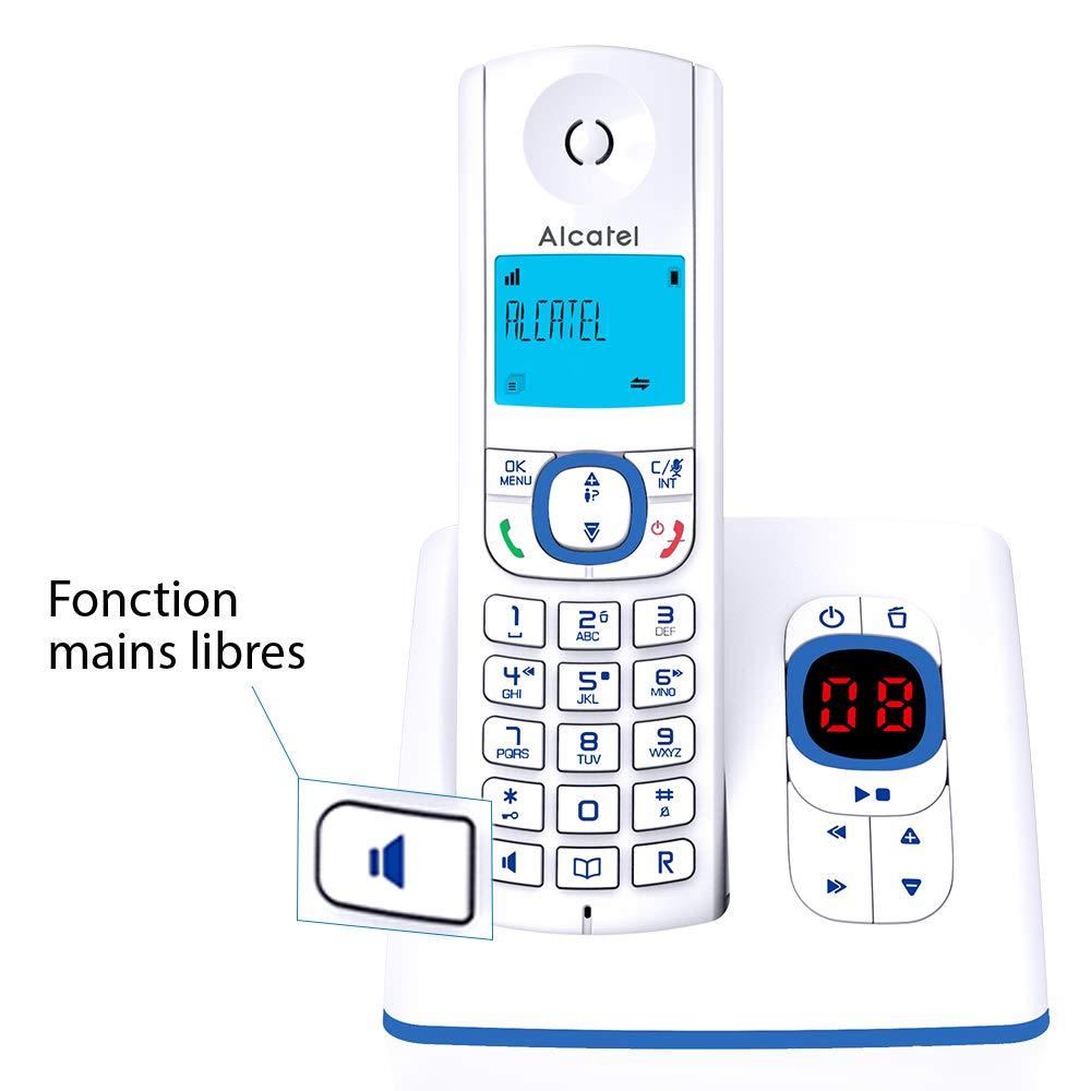 Alcatel F530 - Teléfono (Teléfono DECT, Terminal inalámbrico, Altavoz, 50 entradas, Identificador de Llamadas, Azul, Blanco): Amazon.es: Electrónica