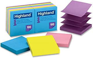 3M 6549-PUB Highland Pop-up Notes, 3 x 3 Inches, Assorted Bright Colors, 12 Pack