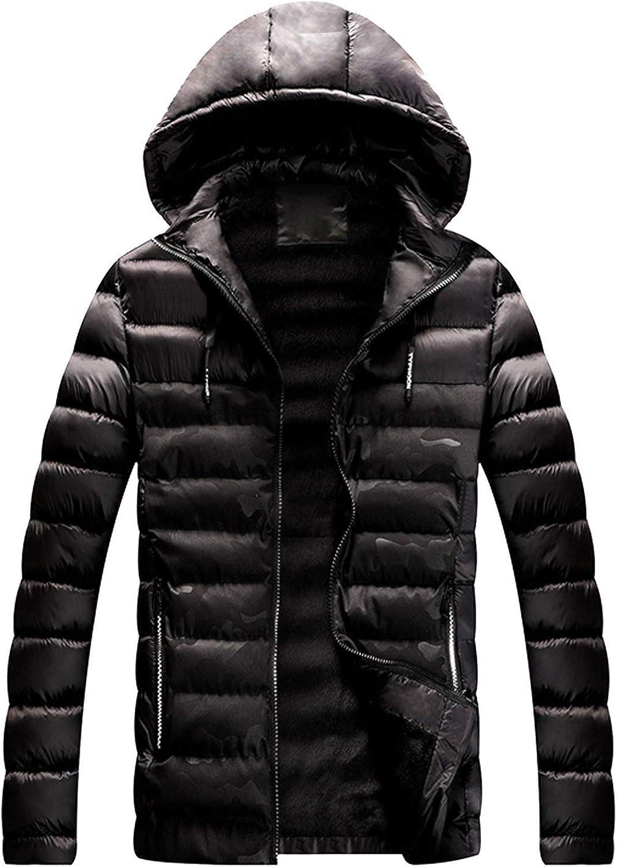 HDGTSA Men Winter Warm Puffer Hooded Jacket Windproof Hoodie Coat Shell Jacket