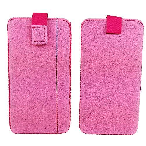 handy-point 5,0'' Filztasche Tasche Hülle aus Filz für Samsung, iPhone, Sony, Lenovo Moto, Huawei, Alcatel, Gigaset, Medion, Neffos, Geräte mit Max.14,2x7,3xx1cm (Pink)