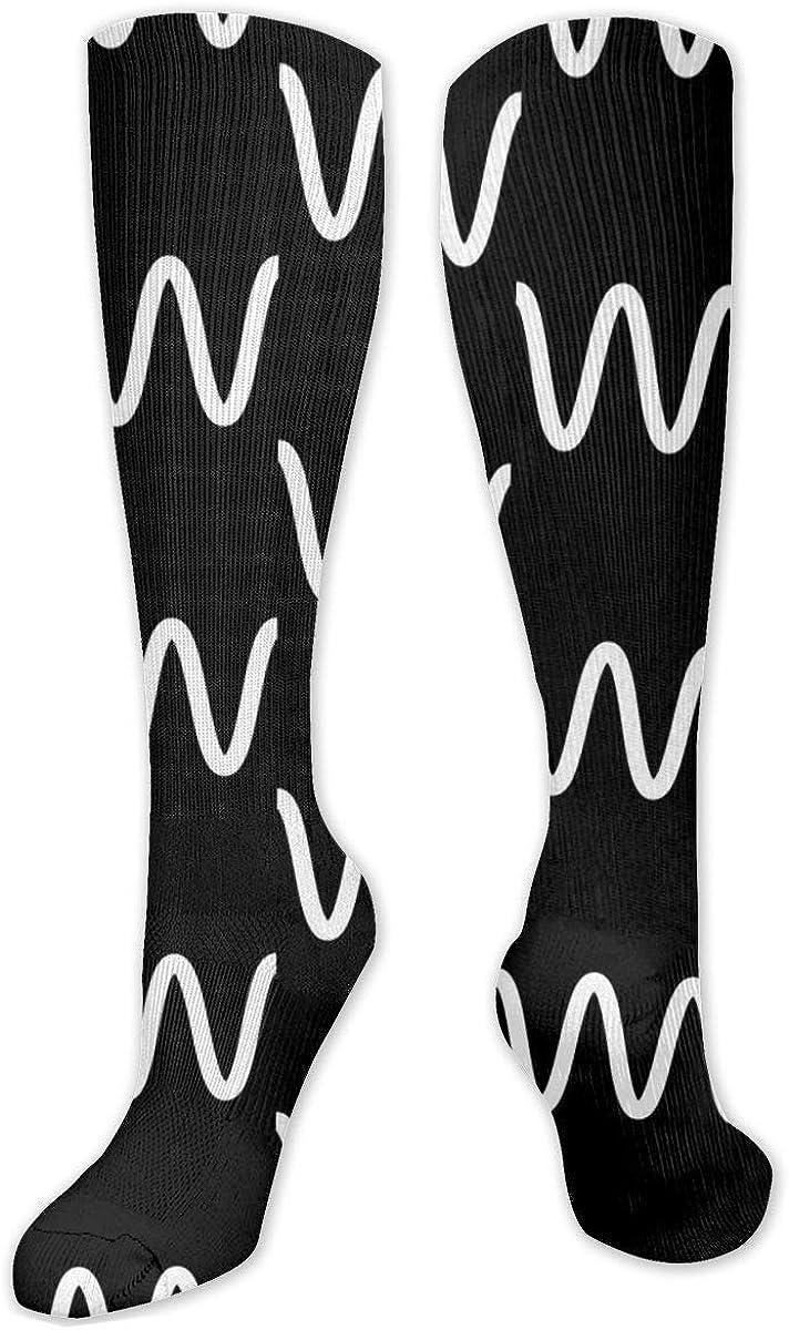 Black White Line Knee High Socks Leg Warmer Dresses Long Boot Stockings For Womens Cosplay Daily Wear