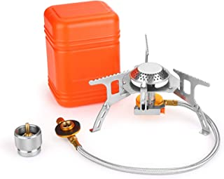 WADEO 3700W Camping Gas Stove, Portable Backpacking Stove with Piezo Ignition, Portable Burner, Camping Stove Adapter and ...
