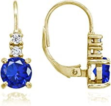 Yellow Gold Flashed Sterling Silver Simulated Gemstone 6mm Round and CZ Accents Leverback Earrings