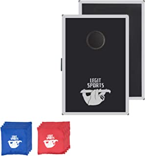 Cornhole Boards with Aluminum Frame by Legit Sports | Bean Bag Toss Corn Hole Outdoor Game with Weighted Bean Bags | Lightweight and Durable Materials | Great for Travel, Camping, Parties