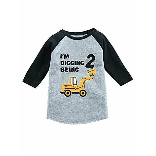 ed5bd8d87 Tstars 2nd Birthday Gift Construction Party 3/4 Sleeve Baseball Jersey Toddler  Shirt