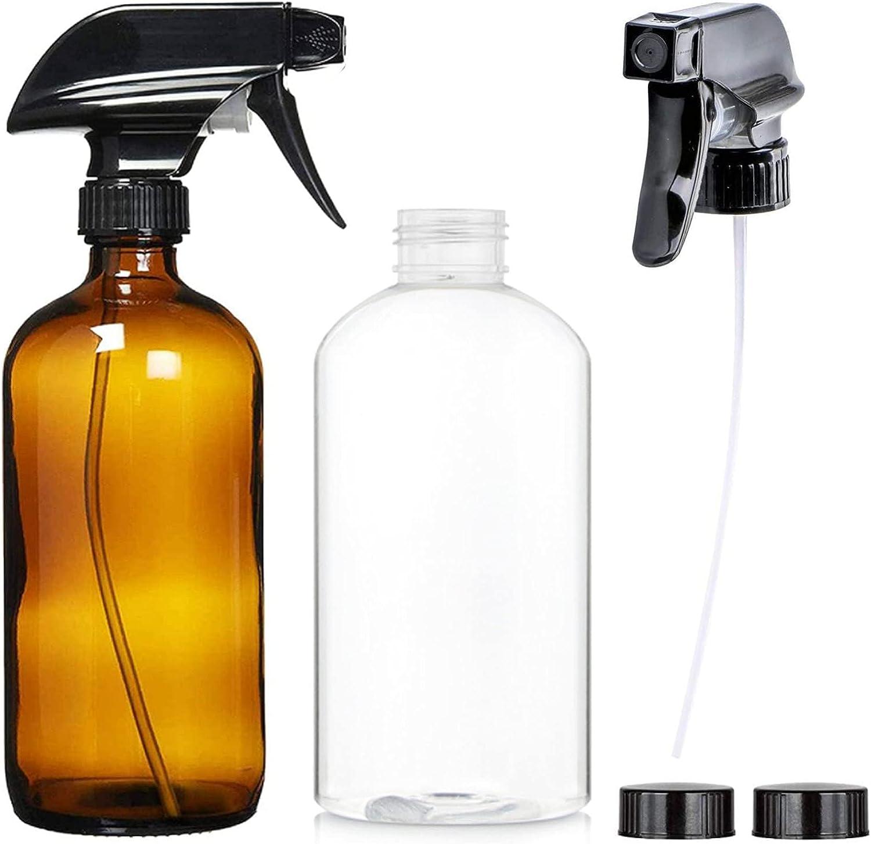 Conjunto de Botellas de Spray de Vidrio 2pcs Botella de Spray de Vidrio 500 ml Dispensador Cristal Ámbar Botella Vidrio Ámbar Botella De Spray para Aceite Esencial Agua Baño Belleza (6 piezas)