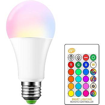 OurLeeme Cambio Color la Bombilla Regulable, E27 15W RGB 16 Colores Control Remoto Blanco Cálido Bombilla de Bajo Consumo para la Decoración Hogar Party (1PCS, RGBW Blanco Cálido)
