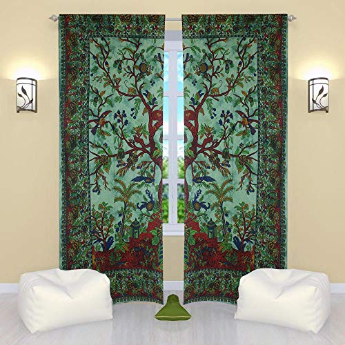 THE ART BOX Window Curtains Indian Window Drapes Set of 2 Tapestry Window Curtains Hanging Valances for Window Room Divider