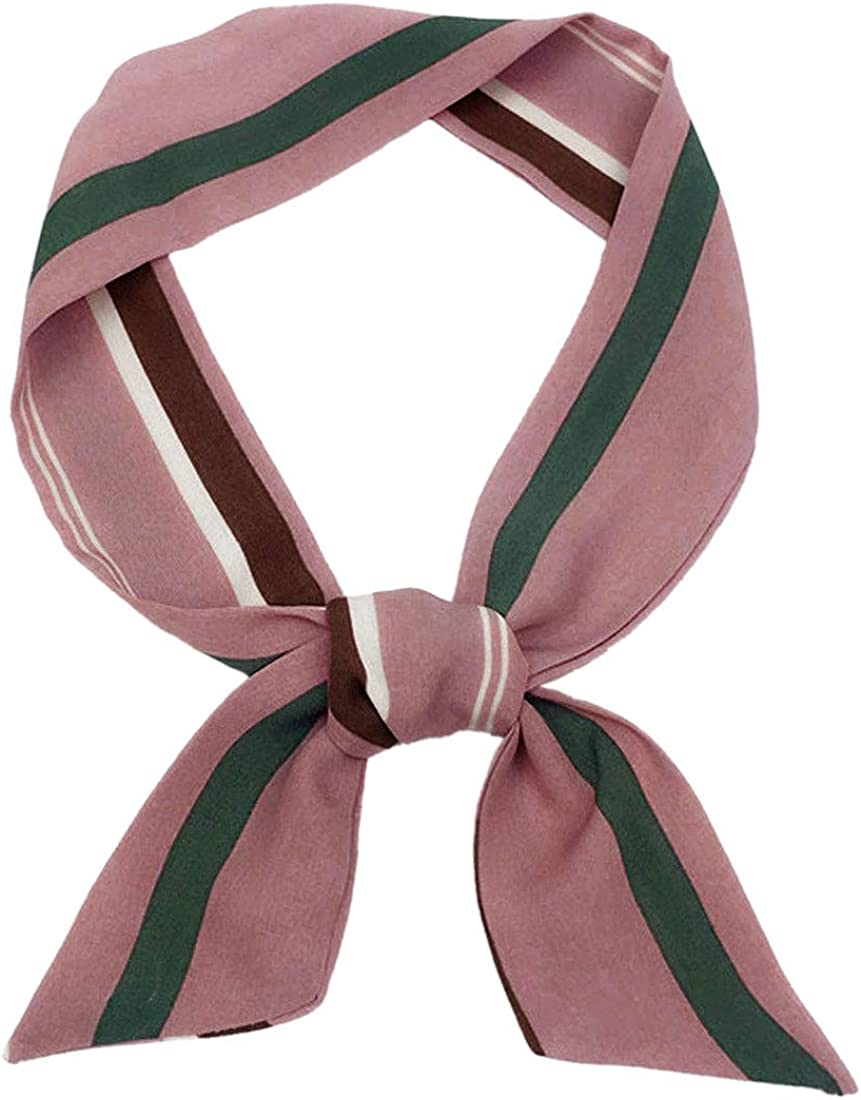 Allegra K Women Polka Dots Stripe Heart Print Skinny Scarf Sharp Neck Scarves Double-Sided Neckerchief