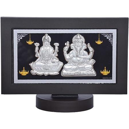 Siri Creations 999 Pure Silver Lakshmi Ganesha with Acralyic Frame